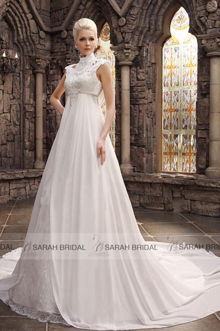 Simple-White-Chiffon-font-b-Empire-b-font-font-b-Wedding-b-font-font-b-Dresses